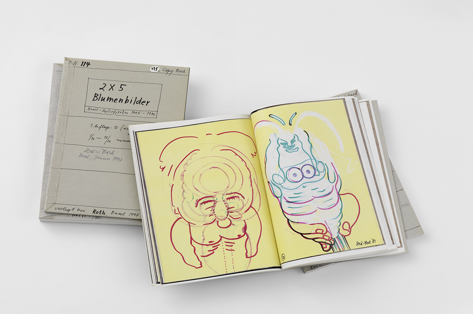 Dieter Roth, Copy books | Open pages of – pagine aperte di Copy book (No. 34) 13 lollies with backs, 1981, Hamburg | published by Dieter Roth's Verlag, Basel 1990-94 | photo: Stefan Altenburger Photography Zürich | © Dieter Roth Estate | Courtesy Hauser & Wirth